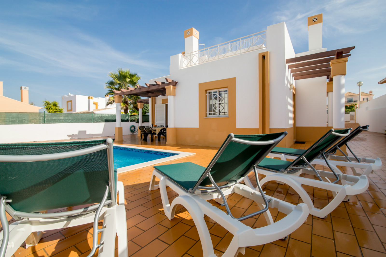 Very sunny, private, south facing villa, spacious pool terraces, large pool.