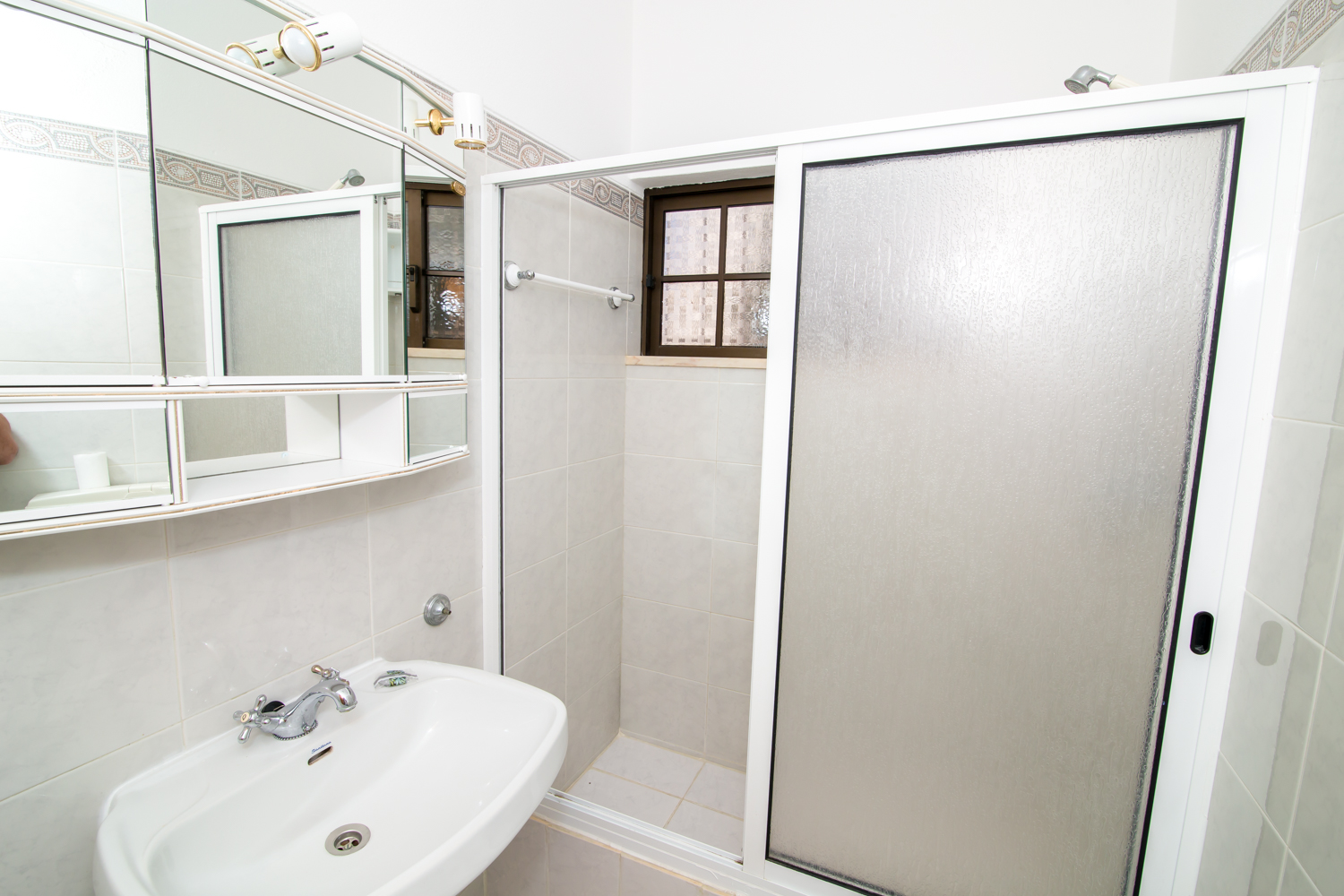 2nd floor bathroom with walk in shower.