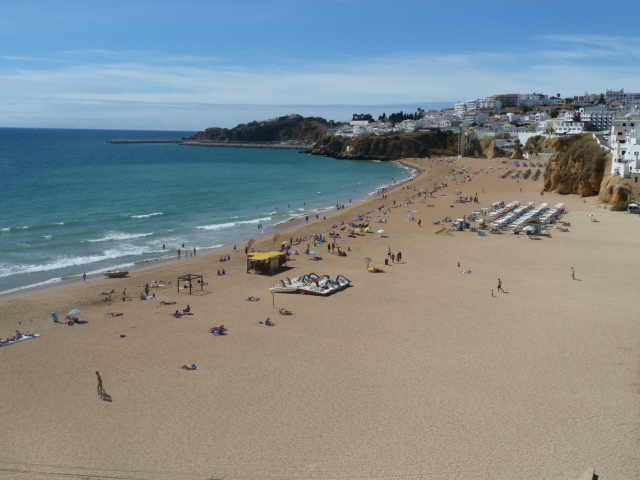 The famous Albufeira Fisherman's Beach & old town, continuation beach from villa