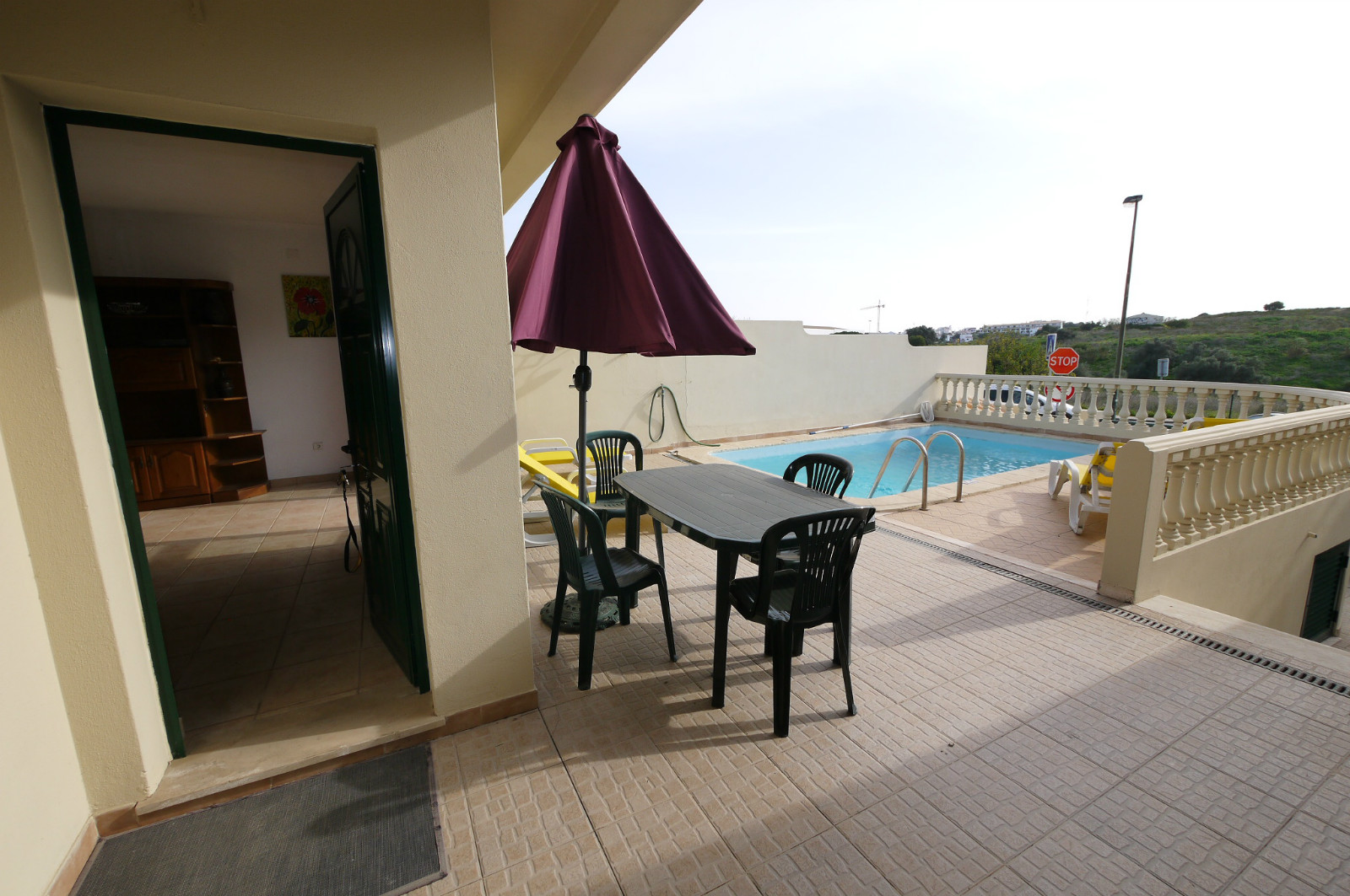 The pool is on 1st floor south facing, all day sunshine, very private terrace.