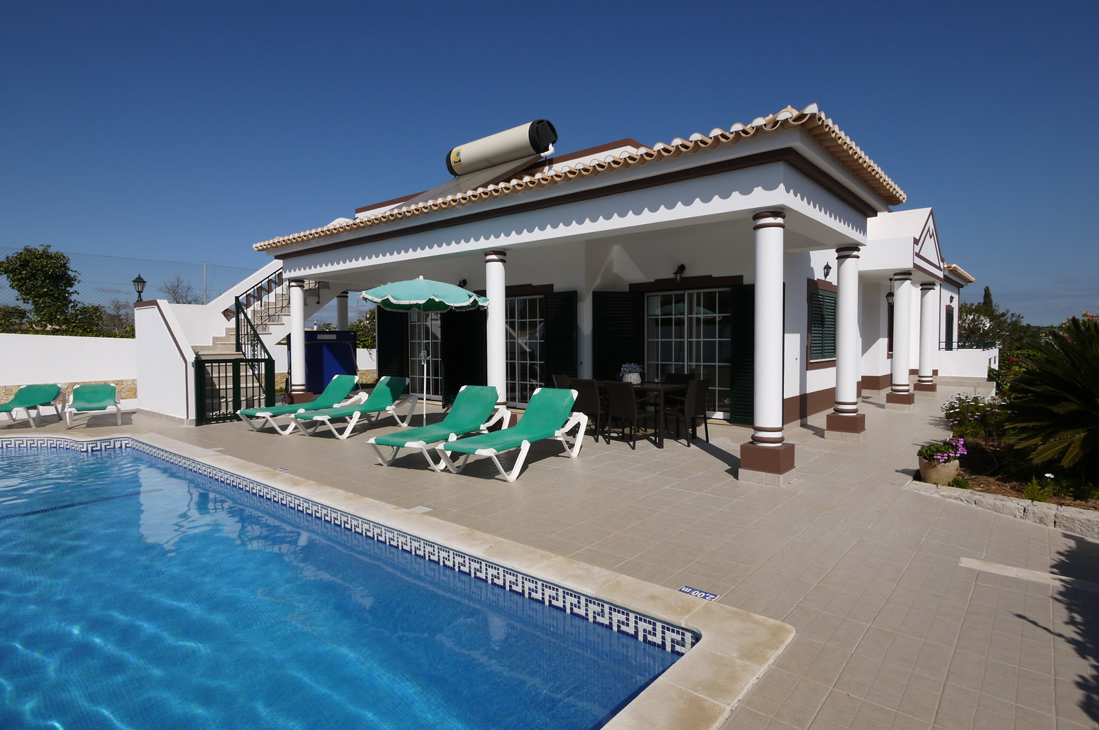 Spacious, sunny, south facing terraces, large pool & great views to be enjoyed.