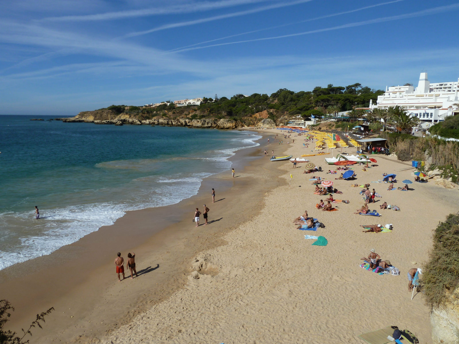 The colouful, popular,  lively Praia Oura beach