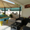 Relax by the pool in a covered area, play snooker and sit and enjoy the match.