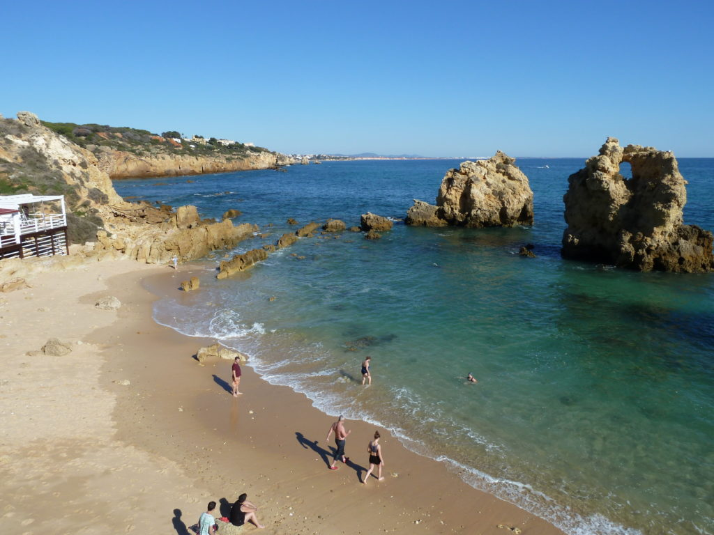 West of Albufeira Marina. Albufeira's Gale Coastline. Arrifes our favourite hideaway 'Blue Flag Beach'.