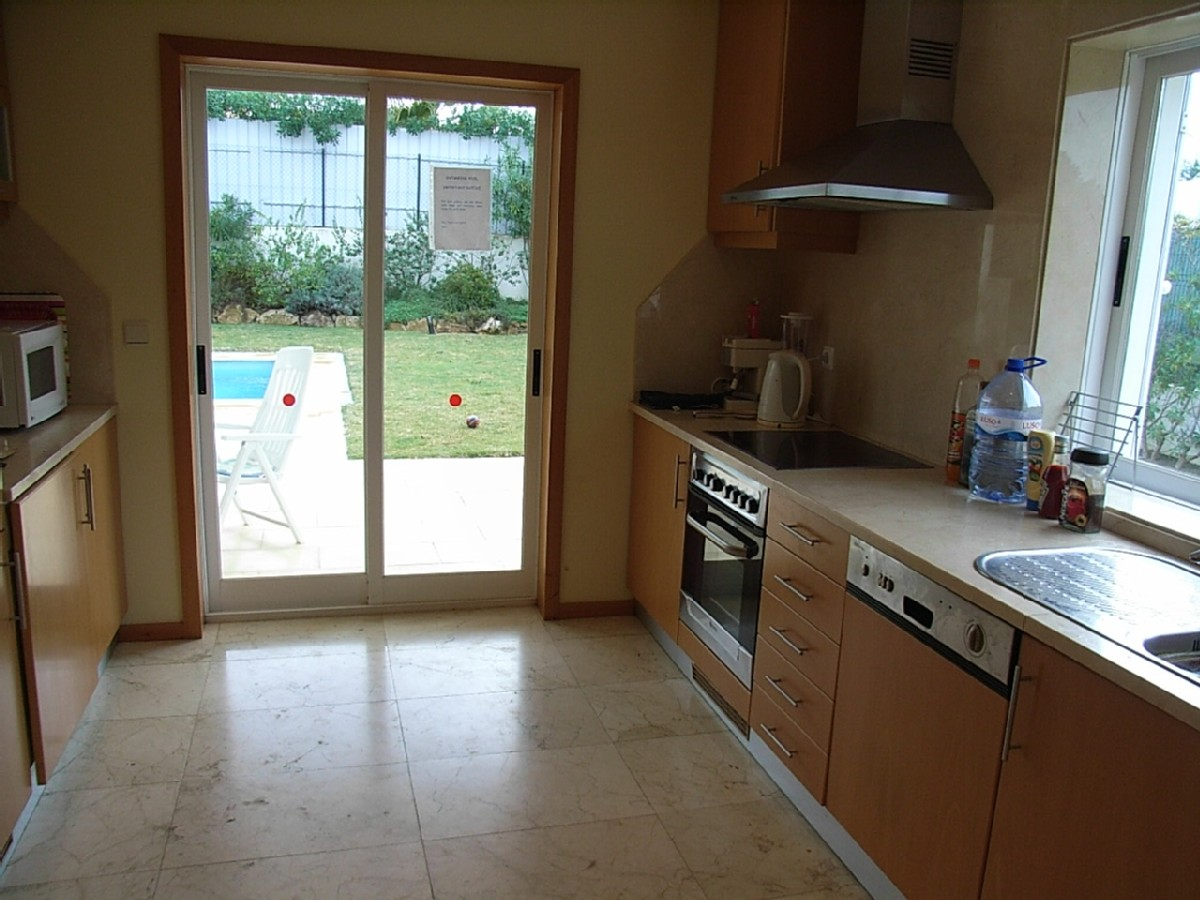 Fully equipped, spacious kitchen with views to pool & lawn.