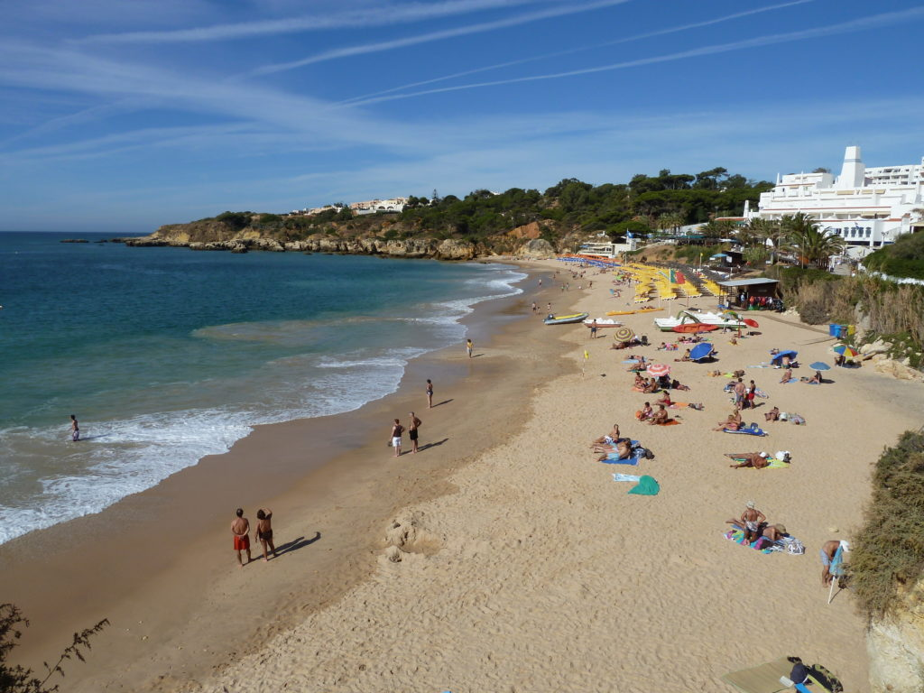 Nr. Santa Eulalia. Praia da Oura, a lively & colourful 'Blue Flag Beach'.