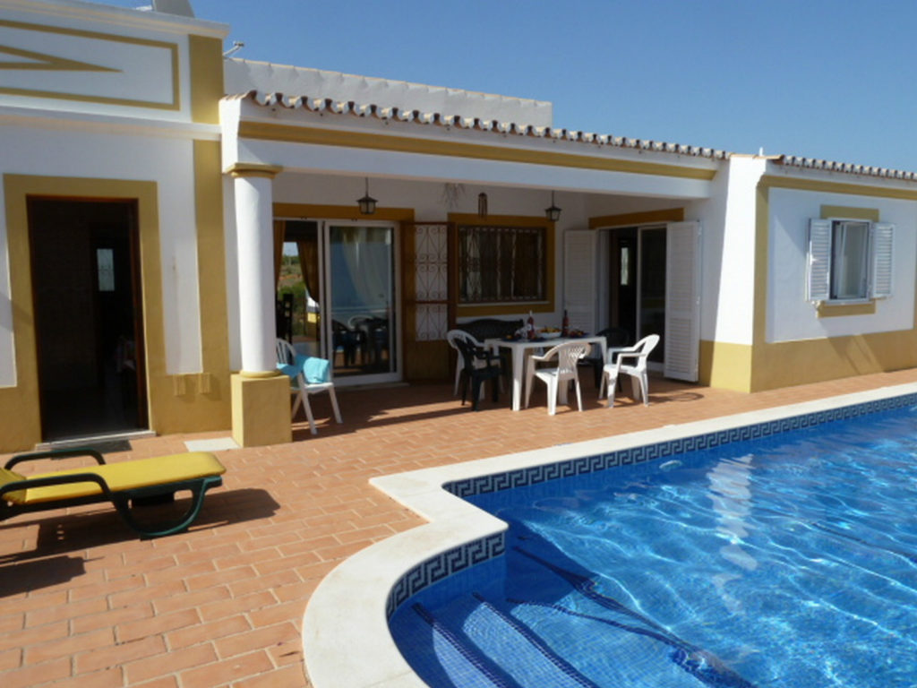 Lounge, kitchen & double bedroom all have doors to terraces, pool, garden & BBQ.