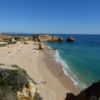 East of Albufeira Marina. Gale Coastline Praia de Sao Rafael Blue Flag Beach.