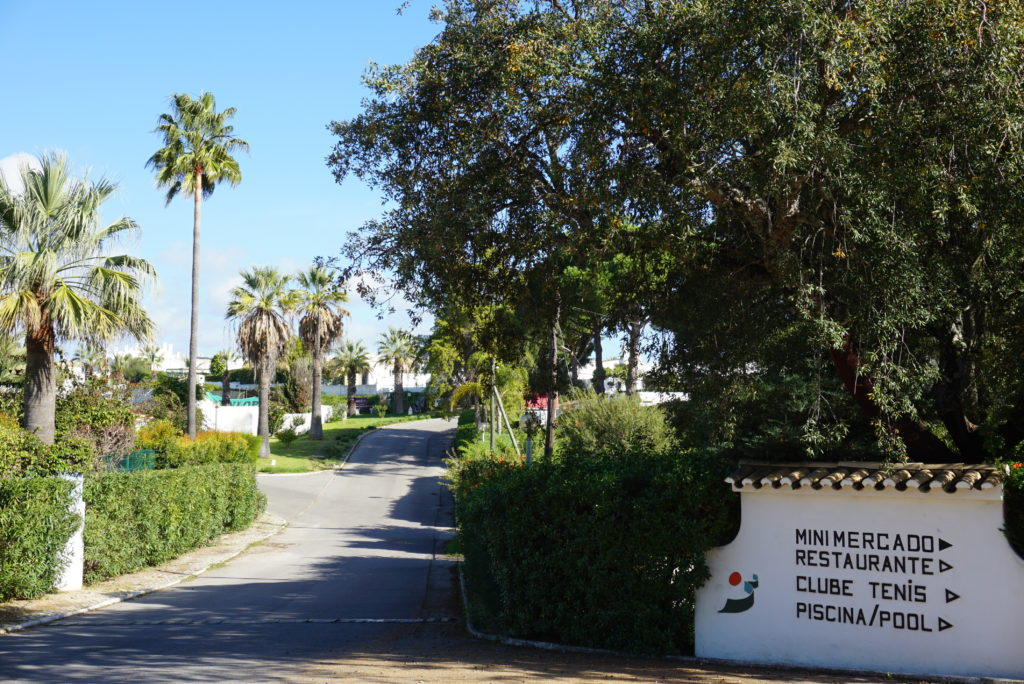 Quinta da Balaia's welcoming sign with lots of green areas.