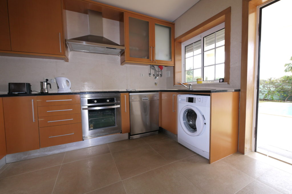 Fully equipped kitchen with pool and sea views also has a individual sound system.