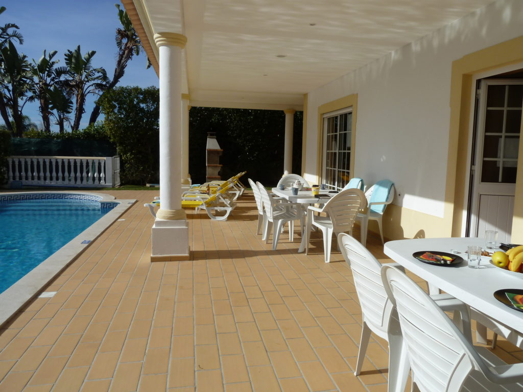 Very spacious terrace overlooking pool, garden, lawn, BBQ & sea views.