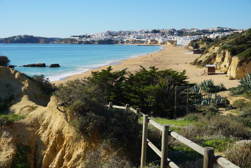 Areias Sao Joao/ Praia dos Alemães beaches with regular Dolphins sightings overlooking Albufeira's Old town. 3.4km.