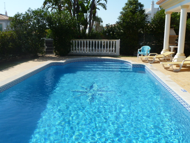 Heatable, Saltwater pool with roman walk-in steps. 9m x 4.5 metres with depths 1.16m to 1.82metres.
