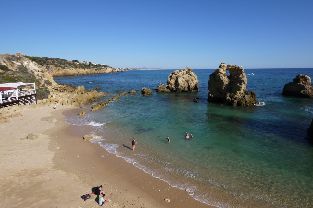 West of Albufeira Marina. Arrifes our favourite hideaway 'Blue Flag Beach'