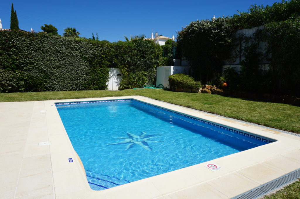 Villa borboleta's Saltwater Pool 8 x 4 metres, with walk-in steps & depths from 1.15m to 1.75 m.