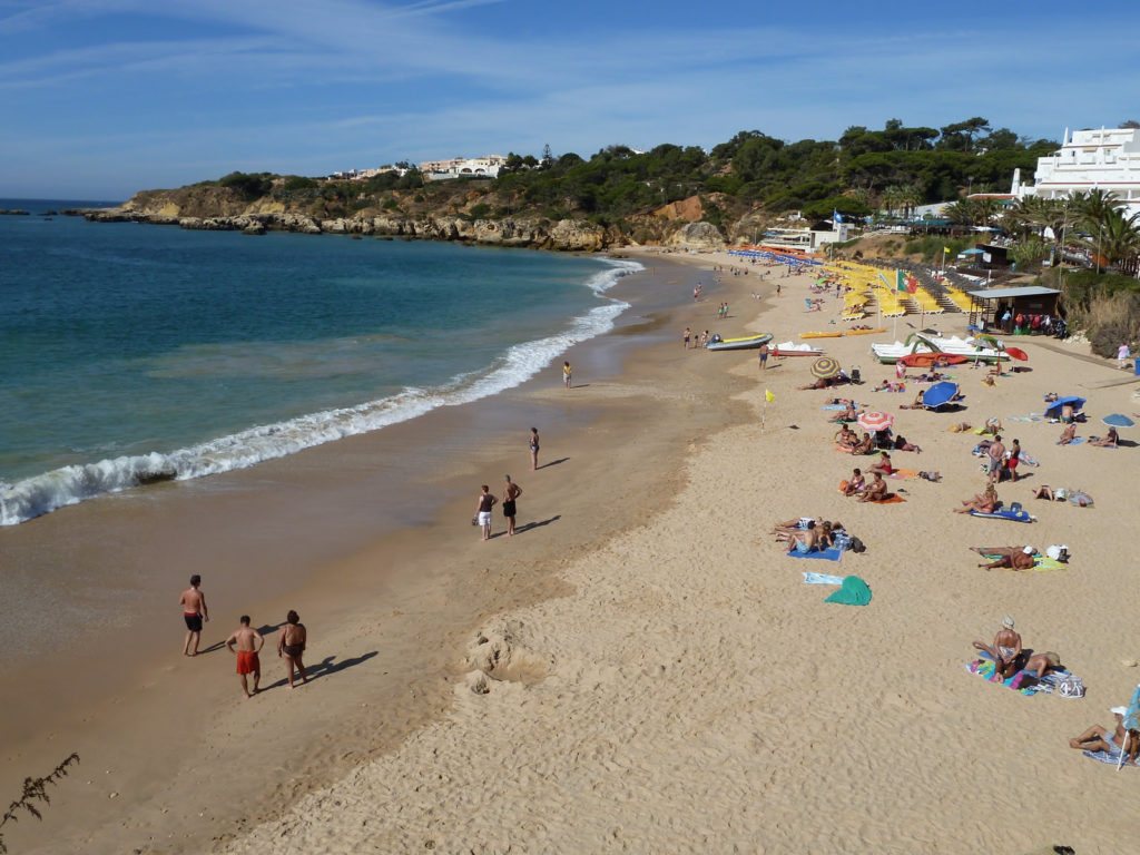 Albufeira. The colourful & beautiful Praia da Oura 'Blue Flag Beach.